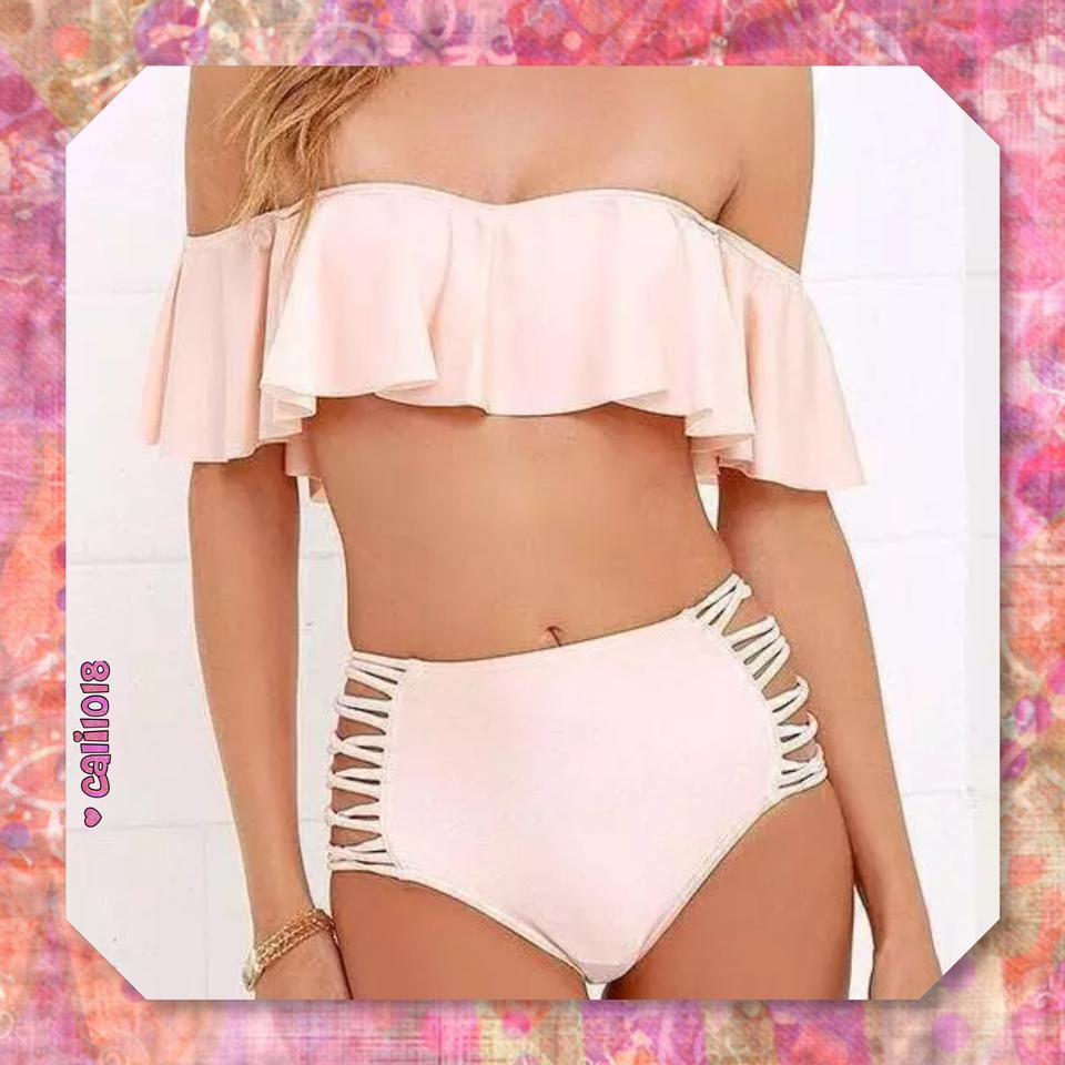 7ce00f219f Pink New 2pc Ruffle Off Shoulder High Waisted Bikini Set. Size  12 (L) ...