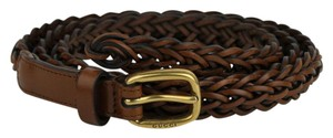 Gucci Brown Braided Leather Skinny Belt w/gold Buckle 90/36 380607 2535