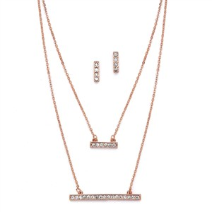 Mariell Trendy Rose Gold Double Bar Fashion Necklace 4571s-rg