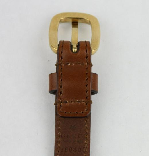 Gucci Brown Braided Leather Skinny Belt w/gold Buckle 95/38 380607 2535
