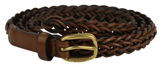 Gucci Brown Braided Leather Skinny Belt w/gold Buckle 100/40 380607 2535
