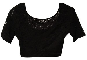 H.I.P. Lace Crop Sweetheart Top black