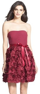 Aidan Mattox Rosette Fit & Flare Strapless Strapless Pleated Dress