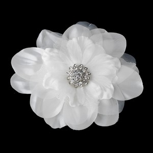Elegance By Carbonneau Beautiful Crystal Accented Flower Hair Clip 426 White