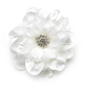 Elegance By Carbonneau Beautiful Crystal Accented Flower Hair Clip 426 Ivory