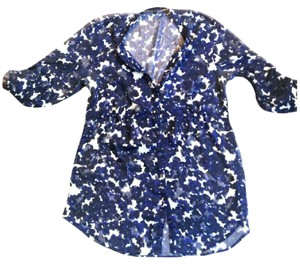 Express Button Down Shirt Navy Blue/White
