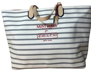 Coach Tote in white with navy nautical stripes, red print