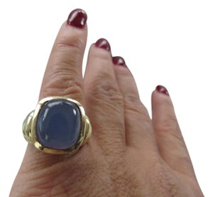 David Yurman Noblesse Collection - SS/14k YG Blue Chalcedony Ring