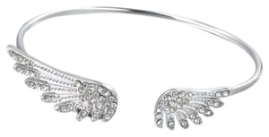 Windsor Silver crystal wings bracelet bangle rhinestones open wing