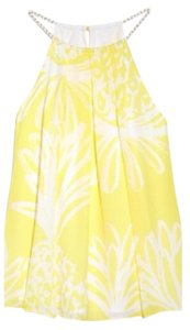 Lilly Pulitzer Limited Edition Plus-size Halter Swing Top Yellow and White