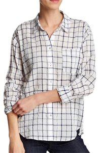 Elizabeth and James Button Down Shirt White/Navy