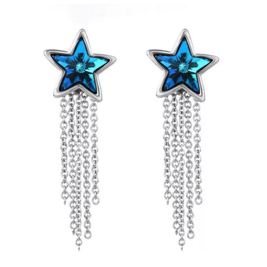 Preload https://img-static.tradesy.com/item/21042893/blue-silver-swarovski-crystals-star-dangling-chain-s7-earrings-0-0-540-540.jpg