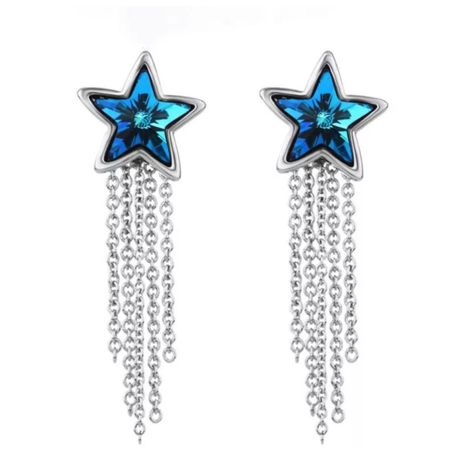 Blue Silver Swarovski Crystals Star Dangling Chain S7 Earrings 60 Off Retail