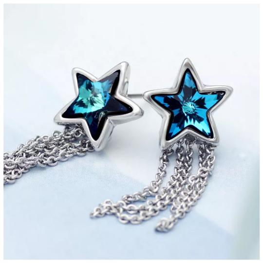 Other Swarovski Crystals Blue Star Dangling Chain Earrings S7 Image 1