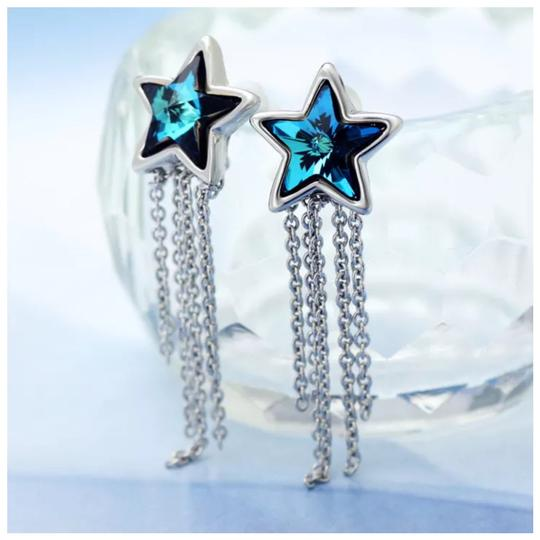 Other Swarovski Crystals Blue Star Dangling Chain Earrings S7 Image 2