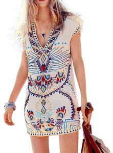 Free People short dress Ivory Antik Batik For Fp Echoing Ella Beaded Multicolor Shift Boho Classic Chic on Tradesy