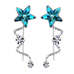 Other Swarovski Crystal Blue Dangling Star Earrings DF100