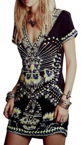 Free People short dress Black Antik Batik For Fp Echoing Ella Beaded Multicolor Shift Boho Classic Chic on Tradesy
