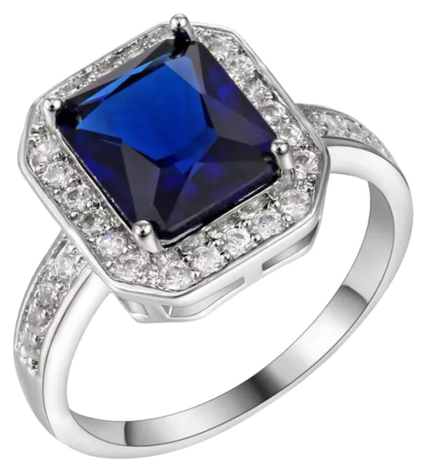 Blue and Silver New Lab Created Sapphire White Gold Filled Ring