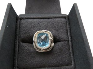 David Yurman Labyrinth 14x12mm Blue Topaz with Pave' Diamonds Ring