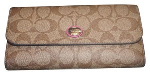 Coach COACH TAN/BROWN/PINK SIGNATURE WALLET WITH DETACHABLE CHECKBOOK