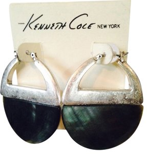 Kenneth Cole Silver-Tone Shell Hoop Earrings