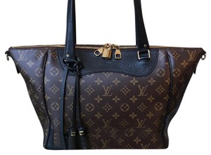 Louis Vuitton Tote in black leather and brown monogram canvas