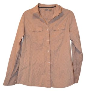 L.L.Bean Polka Dot Shirt Brand Button Down Shirt Tan