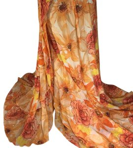 St. John Maxi Skirt Multi many shades of tangerine, white, yellow, black