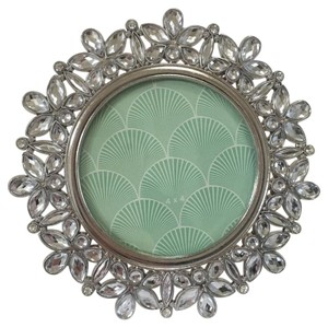 Crystal Silver Metal Round Photo Frame 4x4 Floral Wedding