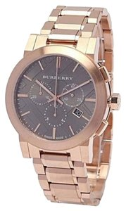 Burberry New Taupe Chronograph Dial Rose Gold Plated Steel Men's Watch BU9353