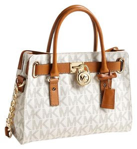 Michael Kors Modern Logo Satchel in Cream