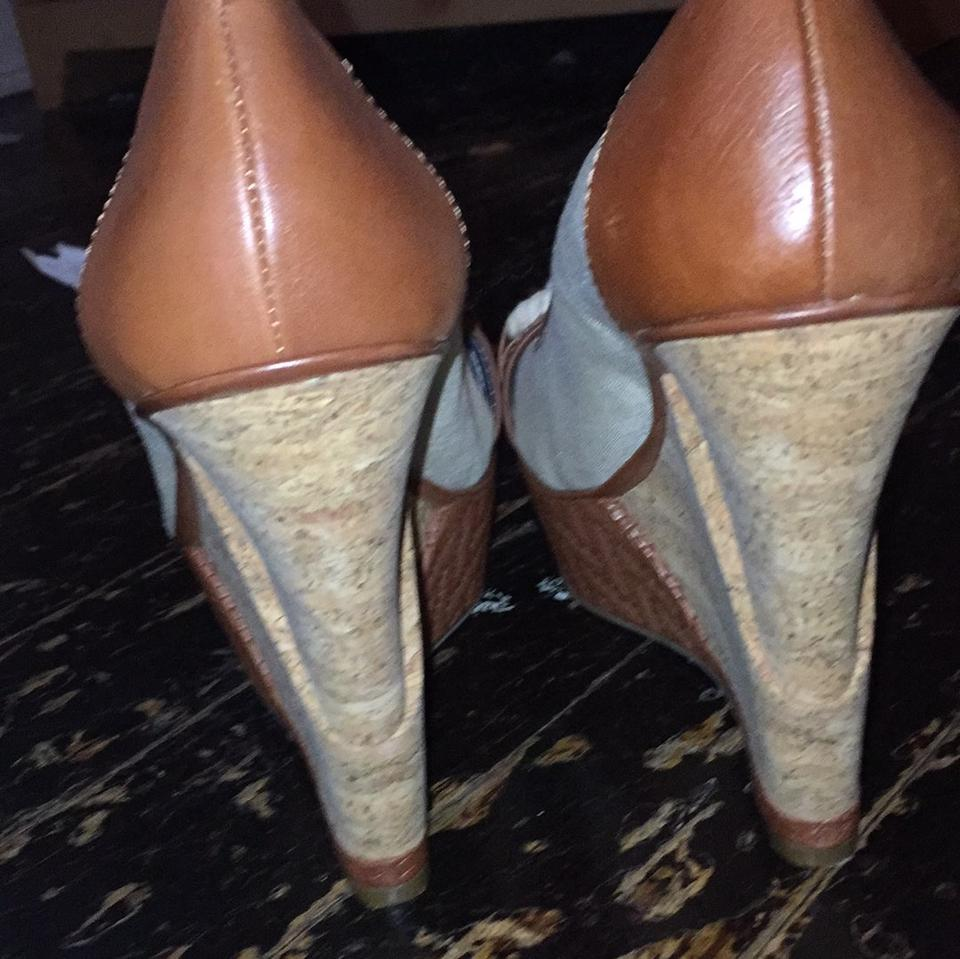 36694f329d9 Gianni Bini Cream and Tan Sailor Wedges Size US 9 Regular (M