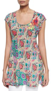 Johnny Was Print Scoop Neck Cap Sleeves Rayon Tunic