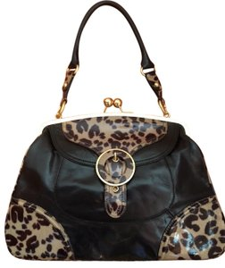 Hype Brass Closure Buckle Animal Print Satchel in black