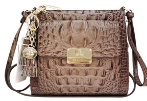 Brahmin Croc Leather Built-in Wallet Light Brown Small Cross Body Bag