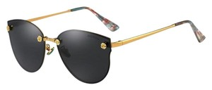 Elle Cross ELLE CROSS BLK GOLD ROSE TEMPLE RIMLESS BLACK LENS CAT EYE SUNGLASSES