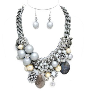 Other Chunky Pearl Silver Bead Necklace And Earrings