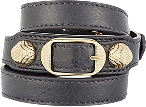 Balenciaga Nwt Made in Italy Leather Dark Grey Gris Fossile Gold Wrap Bracelet