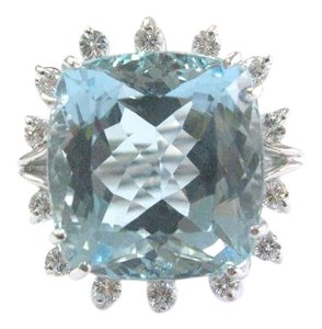Other Fine Gem Aquamarine Diamond White Gold Solitaire W Accent Ring 14.42CT