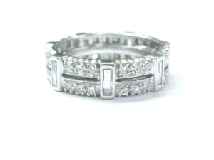 Other Platinum Round & Baguette Diamond Eternity Band Ring Sz 6.75 6mm 1.54C