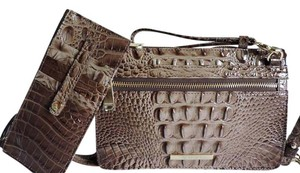 Brahmin Croc Leather Small Size Clutch/wallet + Wallet Cross Body Bag