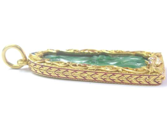 Other 22KT Green Jade Pendant Solid Yellow Gold VINTAGE 2.5