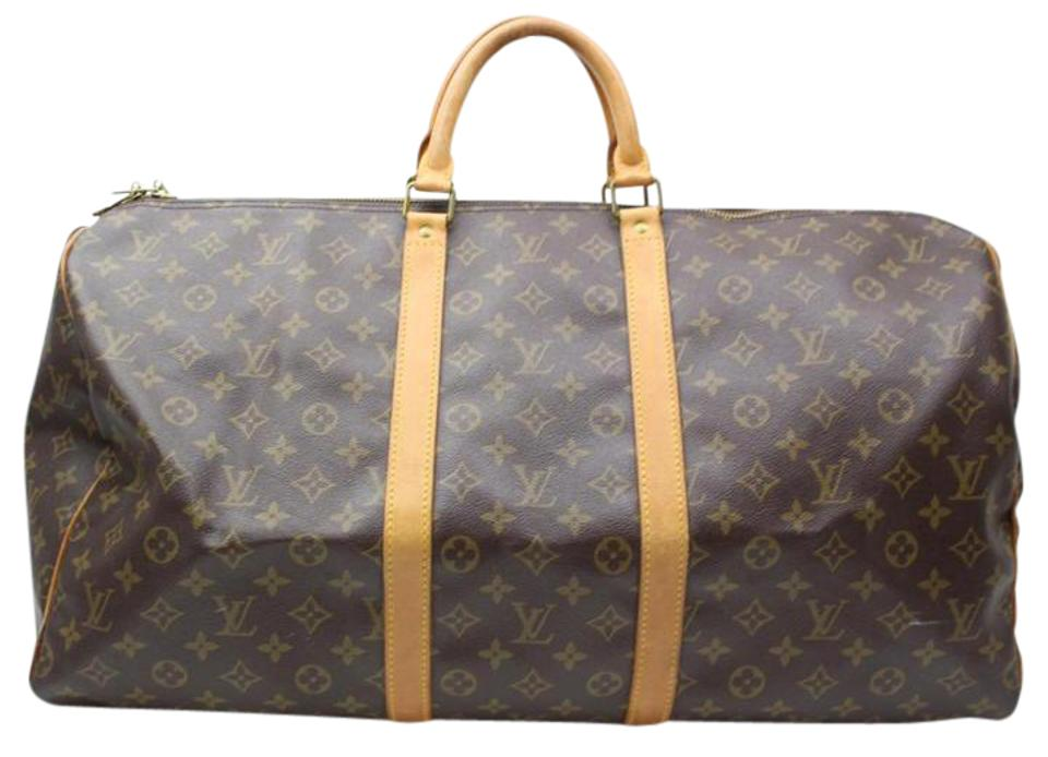 2c940bfd43d5 Louis Vuitton Keepall 55 Brown Monogram Canvas Natural Cowhide Leather  Weekend Travel Bag
