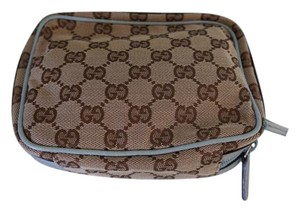 Gucci Make Up Leather Gg Canvas Monogram & Baby blue Travel Bag