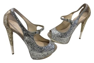 Boutique 9 Heels Gold and Silver Glitter Peep Toe Stilettos Foot Strap Platforms