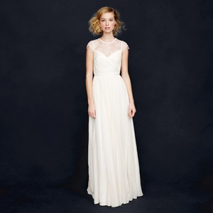J.Crew Ivory Silk Chiffon Beatriz Feminine Wedding Dress Size 12 (L)