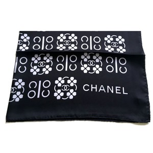 Chanel Chanel Lucky Black Silver Gray Clover COCO Silk Twill Scarf Wrap Shawl