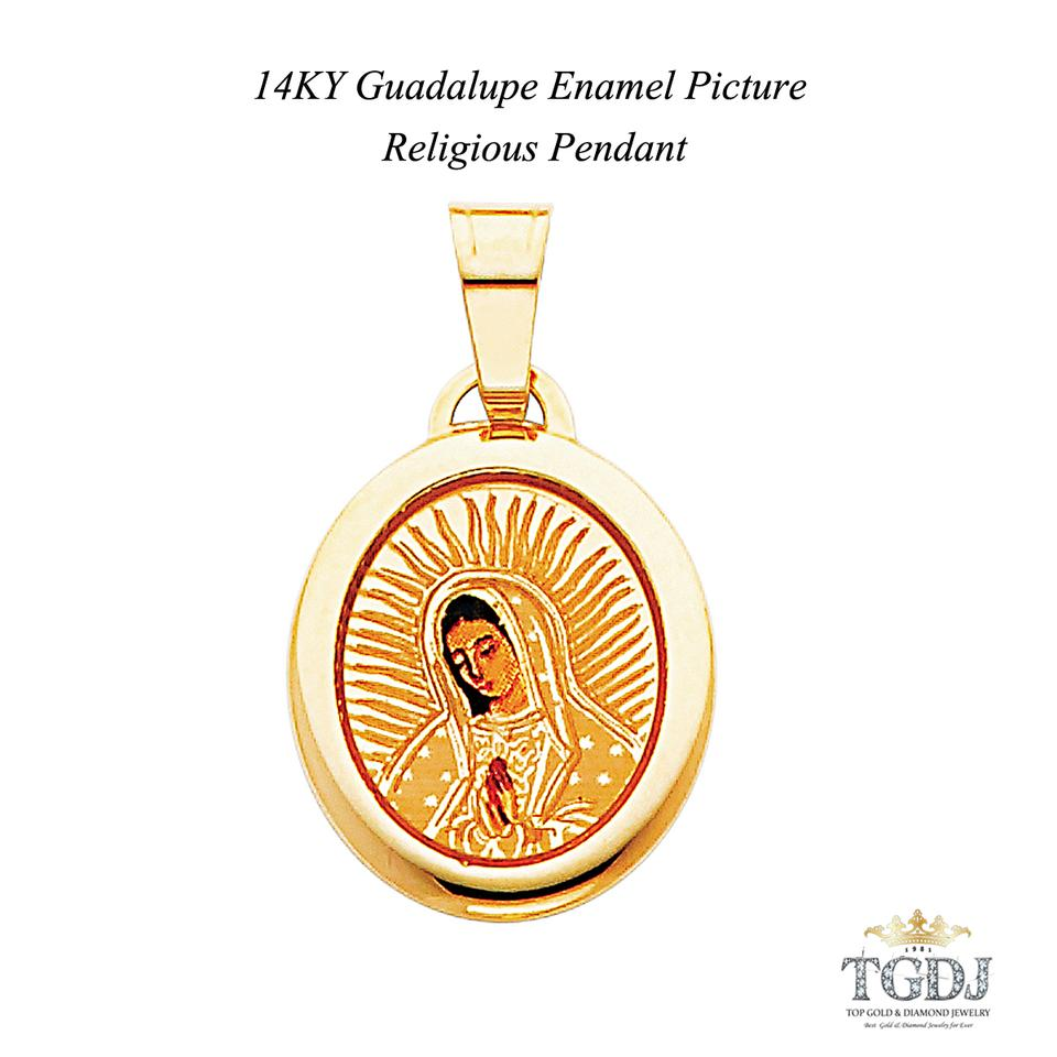 14k Yellow Gold Guadalupe Enamel Picture Religious Pendant Charm