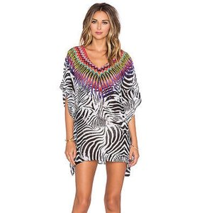 PilyQ EMBROIDERED BEADED AFRICAN RAYS ZEBRA PRINT COVER UP TUNIC